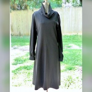 Vintage Black Cowl Neck Long Sleeve Dress